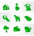Set glass icons button color symbol vector