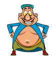 Cartoon funny character bellied man uzbek standing vector