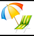 A beach bed and umbrella vector