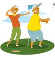 Senior couple playing golf vector