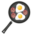 Fried eggs in a frying pan 04 vector