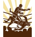 Boxer knockout opponent out of boxing ring vector