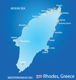 Island of rhodes in greece map vector