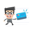 Thief with plastic card vector