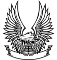 Eagle emblem with wings spread and banner vector