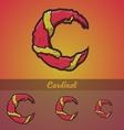 Halloween decorative alphabet - c letter vector