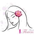Girl with pink flower vector