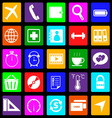 Application colorful icons on black background set vector
