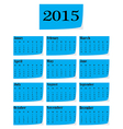 Calendar for 2015 starts sunday vector