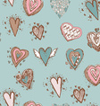 Seamless pattern with hearts blue pink brown vector
