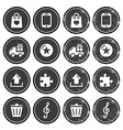 Web navigation icons on retro labels set vector
