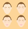 Woman face wrinkle problems on orange background vector