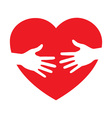 Heart icon with caring hands logo vector