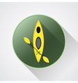 Canoe icon kayak on a green button summer vector