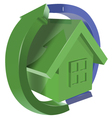 Green house with arrows vector