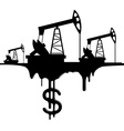 Silhouette pumpjack and oil with the dollar vector
