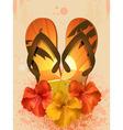 Hibiscus flowers and flip flops vector