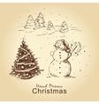Christmas hand drawn card vector