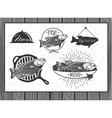 Seafood labels fish packaging design vector