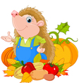 Hedgehog with harvest fruits vector