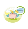 Card with pink piggy bank and coins vector