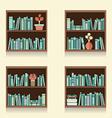 Set of wooden bookshelves on wall vector