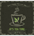 Brown blackboard with a cup of hot tea and text vector