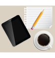 Coffee cup with abstract tablet on business vector