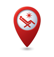 Beach chair icon on red map pointer vector