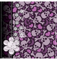 Decorative card with hearts and skulls vector