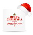 Happy christmas card with santa hat vector