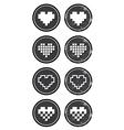 Love pixelated hearts retro labels set - vector