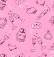 Cute pink sketchy valentines day seamless pattern vector