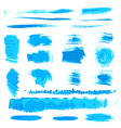 Handmade blue strokes set painted by brush vector