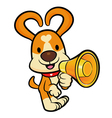 Dog mascot the left hand is holding a loudspeaker vector