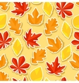 Seamless pattern with stickers autumn leaves vector