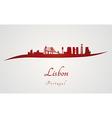 Lisbon skyline in red vector