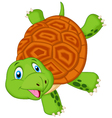 Cute turtle cartoon standing with hand vector