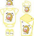 Cute baby layette with puppy and butterfly - vector