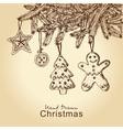 Gingerbread cookies on christmas tree vector