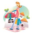 Cute shopping girl vector