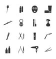 Beauty salon silhouettes flat icons set vector