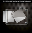 Glass on metal background vector