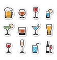 Drink alcohol beverage icons set as labels vector