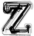 Grunge font letter z vector