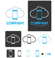 Mobile cloud computing company logo template vector