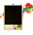 Old frame on watercolor paint background vector