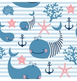 Seamless pattern with cute whales vector