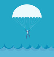 Businessman flying into the sea vector