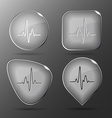 Cardiogram glass buttons vector